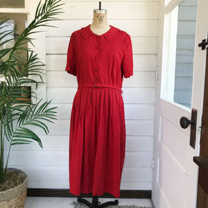 Vintage 50's Homemade Button Down Bow Peated Dress